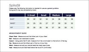 Splits59 Size Chart Supplex Flared Leg Tight