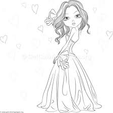 Cute Girl Coloring Pages Vector Images Over 500 At Bitsliceme