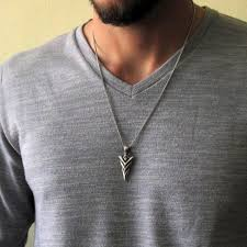 mens silver arrowhead pendant necklace