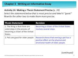 activity a making a thesis statement precise p ppt  activity 1a making a thesis statement precise p 34