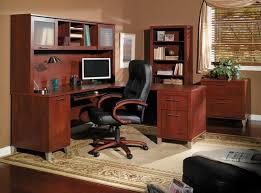 Furniture Amazing Walnut Home Office Furniture With Black Leather