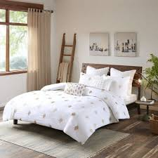 ink ivy stella dot king cal king size bed comforter set white gold embroidered 3 pieces bedding sets cotton bedroom comforters souq uae