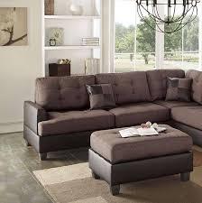 brown faux leather sectional sofa set 2 pcs f6857 poundex modern order