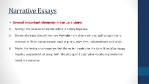narrative essays 3 narrative essays • several important elements make up