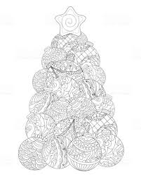 Kerstboom Volwassen Kleurplaat Wintervakantie Vector Illustratie