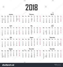 Calendar 2018 Week Starts On Monday Stock Vector Royalty Free
