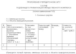 Приватизация государственного и муниципального имущества  форма приложения к акту