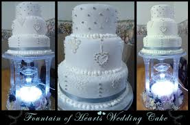 blue wedding cakes fountain.  Blue Fountain Of Hearts Wedding Cake By PerrythePlatypus  With Blue Cakes