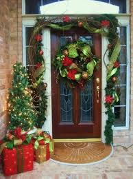 Front Door Garland Charming Decor With And Green Ribbon Wreath