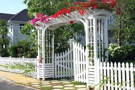 landscaping fence ideas beautiful white garden fence with gated pergola garden fence designs uk