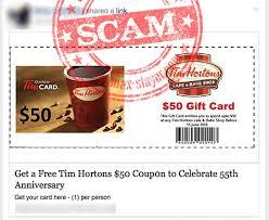 tim hortons facebook scam