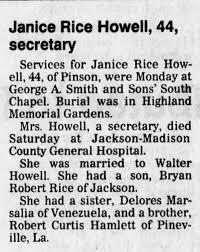 Janice Rice Howell Obituary - Newspapers.com