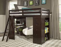 image of cozy loft bed with futon and desk