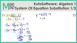 kuta algebra 1 system of equations substitution part 1