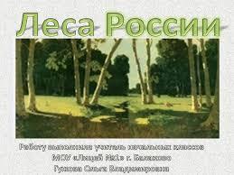 Урок окружающего мира в м классе Леса России