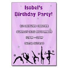Childrens Disco Invitations Gymnastics Party Invitation