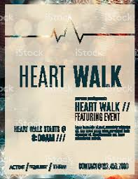 heart walk fundraiser flyer template stock vector art  1 credit