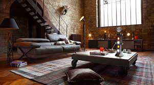 the brick living room furniture. Furniture : Gorgeous Industrial Living Room With Dark Wood Coffee Table On Wheels Also Drk Sofa Near Cone Black Floor Lamp Exposed Brick The P