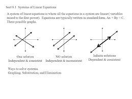 sect 8 1 systems of linear equations a system of linear equations is where all the equations in a system are linear variables raised to the first power