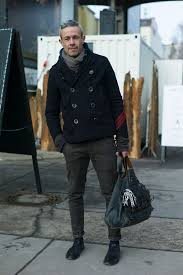 black peacoat grey jeans scarf leather boots 1