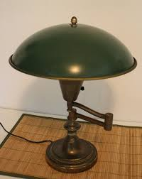 vintage brass swing arm desk lamp green metal dome shade 16 h