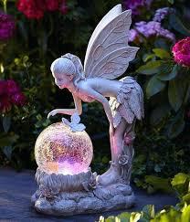 solar garden statues solar light globe fairy statue color changing angel garden path landscape decor solar solar garden statues