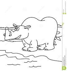 Hippopotamus Coloring Page Stock Illustration Illustration Of Cute