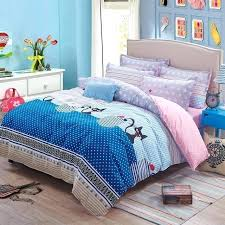 twin duvet set new arrival black cat bedding star printed pink bed sheet plaid full cover