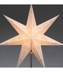 Étoile lumineuse électrique 7 branches en papier blanche sur pied cuivré