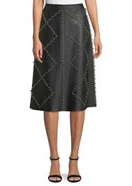 lam studded a line midi leather skirt