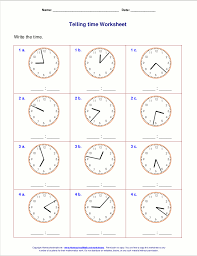 Telling time worksheets for 3rd grade