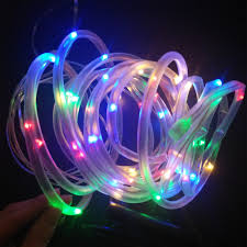 Solar Rope Lights For Garden Us 11 73 31 Off Yiyang Outdoor Solar Led String Lights Outdoor Solar Rope Tube Led String Solar Powered Fairy Lights For Garden Fence Landscape In