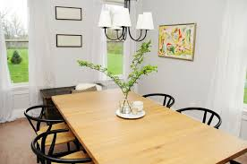 maple wood dining room table. briliant small dining room decor using maple wood table and black iron chairs over cone white hanging lamp plus window curtains