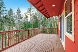 wooden deck railings red house