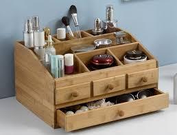 bamboo wooden makeup organizer jewelry box make up cosmetic storage