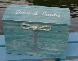 personalized pale aqua nautical themed beach wedding card box Wedding Card Box Ideas Beach Theme personalized pale aqua nautical themed beach wedding card box treasure chest with rope and hand wedding card box beach theme