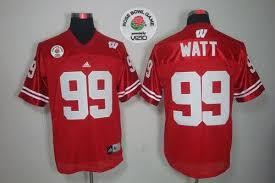 j Wisconsin Game 99 Red Jersey Rose Bowl Watt J Badgers Men Ncaa