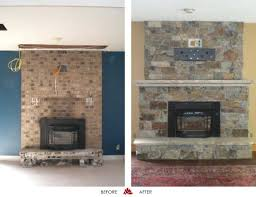 image of reface fireplace stone veneer for western style house