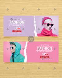 Fashion Banner Creative Fashion Colorful Web Banner Design Collection Vector With Photo Uxoui