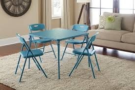 folding table chairs set. amazon.com: cosco 5-piece folding table and chair set, teal: kitchen \u0026 dining chairs set