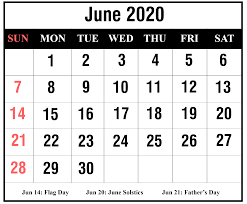❤️Free June 2020 Printable Calendar Template with Holidays [PDF, Excel,  Word]❤️