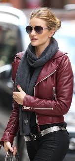 rosie huntington whiteley wearing burdy leather biker jacket black skinny jeans silver leather belt charcoal knit scarf women s fashion lookastic