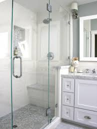 charming white stone walk in showers with bench