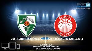 Zalgiris Kaunas v AX Olimpia Milano Live Stream | Euroleague