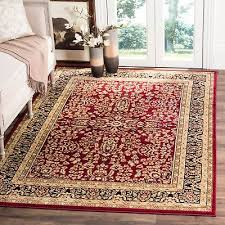 lyndhurst collection treasure red black area rug 8 x 11