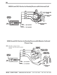 msd ignition wiring diagrams msd 6 and sci series to honda acura blaster coil and power cap