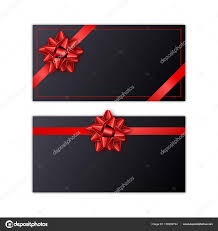 Holiday Gift Card Template Set Of Black Holiday Gift Card With Red Ribbon And Bow Template For