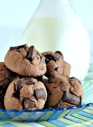 double rich chocolate protein cookies on plate bottle of milk in background