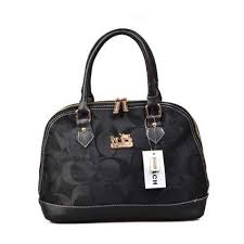 Stylish Coach Madison Signature Medium Black Satchels DOM