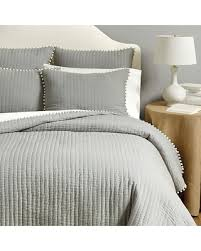 gray bedspread king. Plain Gray Ballard Designs Audree Pom Quilt Gray King Throughout Bedspread